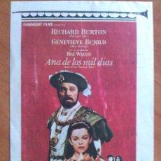 Cine: PROGRAMA DE MANO : ANA DE LOS MIL DÍAS - RICHARD BURTON. Lote 290956488