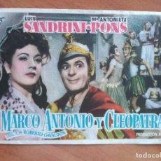 Cine: MARCO ANTONIO Y CLEOPATRA - SIN PUBLICIDAD. Lote 290960403
