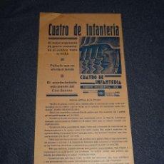 Cine: PROGRAMA DE CINE ORIGINAL - CUATRO DE INFANTERÍA, FRENTE OCCIDENTAL 1918, TOBIS, BARCELONA 1932. Lote 291472788