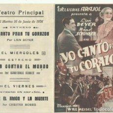 Cine: PTCC 093 YO CANTO PARA TU CORAZON PROGRAMA DOBLE EXCLUSIVAS ARAJOL LIEN DEYER. Lote 292114413