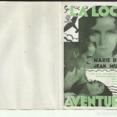 Cine: PTCC 093 LA LOCA AVENTURA PROGRAMA DOBLE VERDE SUPERFILM MARIE BELL JEAN MURAT. Lote 292114533