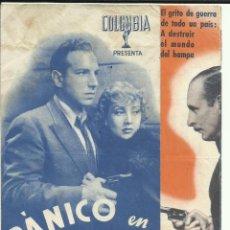Cine: PTCC 095 PANICO EN EL AIRE PROGRAMA DOBLE COLUMBIA ANN SOTHERN LLOYD NOLAN CINEMA DE FERROL. Lote 292248068
