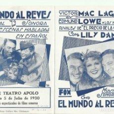 Cine: PTCC 096 EL MUNDO AL REVES PROGRAMA DOBLE URUGUAYO FOX VICTOR MACLAGLEN LILY DAMITA EDMUND LOWE. Lote 292413783