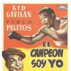 Cine: PTCC 090 EL CAMPEON SOY YO PROGRAMA SENCILLO ARAJOL KID GAVILAN PABLO PALITOS BOXEO. Lote 292585308