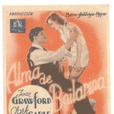 Cine: PTCC 090 ALMA DE BAILARINA PROGRAMA TARJETA MGM CLARK GABLE JOAN CRAWFORD FRED ASTAIRE. Lote 292587263