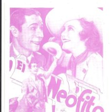 Cine: PTCC 090 EL NEOFITO PROGRAMA TARJETA WARNER GINGER ROGERS JOE E. BROWN. Lote 292596433