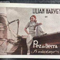 Cine: PTCC 091 PEZ DE TIERRA PROGRAMA TARJETA UFA LILIAN HARVEY ANDRE ROANNE. Lote 292602248