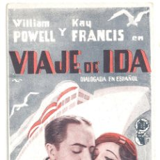Cine: PTCC 091 VIAJE DE IDA PROGRAMA TARJETA GRIS WARNER WILLIAM POWELL KAY FRANCIS. Lote 292611368