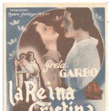 Cine: PTCC 091 LA REINA CRISTINA DE SUECIA PROGRAMA TARJETA MGM GRETA GARBO JOHN GILBERT. Lote 292616418