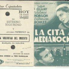 Cine: PTCC 095 LA CITA A MEDIANOCHE PROGRAMA DOBLE RALPH BELLAMY VALERIE HOBSON. Lote 292962058