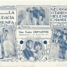 Cine: PTCC 097 EL TRIUNFO DE LA AUDACIA PROGRAMA SENCILLO URUGUAYO HELEN CHANDLER O'BRIEN JOHN WAYNE FORD. Lote 293152683