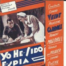 Cine: PTCC 097 YO HE SIDO ESPIA PROGRAMA DOBLE URUGUAYO MADELEINE CARROLL CONRAD VEIDT HERBERT MARSHALL. Lote 293152783