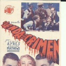 Cine: PTCC 098 LA SENDA DEL CRIMEN PROGRAMA TARJETA RIALBO JAMES CAGNEY LEW AYRES DOROTHY MATHEWS. Lote 293153113