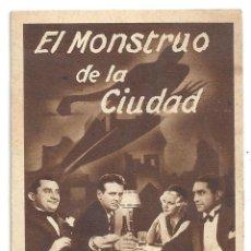 Cine: PTCC 091 EL MONSTRUO DE LA CIUDAD PROGRAMA TARJETA MGM JEAN HARLOW WALTER HUSTON. Lote 293250398