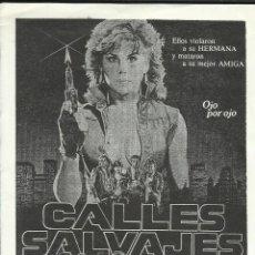 Cine: PTCC 098 CALLES SALVAJES PROGRAMA SENCILLO GRANDE LINDA BLAIR. Lote 293267298