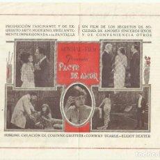 Cine: PTCC 099 PACTO DE AMOR PROGRAMA DOBLE MUNDIAL CORINNE GRIFFITH CINE MUDO. Lote 293314123