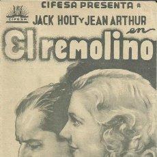 Cine: PTCC 099 EL REMOLINO PROGRAMA DOBLE CIFESA JEAN ARTHUR JACK HOLT. Lote 293315978