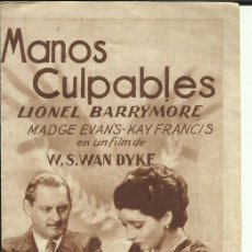 Cine: PTCC 084 MANOS CULPABLES PROGRAMA DOBLE MGM LIONEL BARRYMORE MADGE EVANS KAY FRANCIS. Lote 293322773
