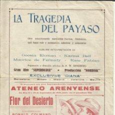 Cine: PTCC 100 LA TRAGEDIA DEL PAYASO PROGRAMA DOBLE EXCLUSIVAS DIANA KARINA BELL CINE MUDO. Lote 293323418
