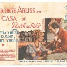 Cine: PTCC 92 LA CASA DE ROTHSCHILD PROGRAMA TARJETA ARTISTAS ASOCIADOS BORIS KARLOFF LORETTA YOUNG. Lote 293340298