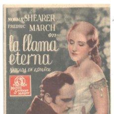 Cine: PTCC 92 LA LLAMA ETERNA PROGRAMA TARJETA MGM NORMA SHEARER FREDRIC MARCH LESLIE HOWARD SIN CENSURA. Lote 293353453