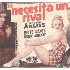 Cine: PTCC 92 SE NECESITA UN RIVAL PROGRAMA TARJETA WARNER BETTE DAVIS GEORGE ARLISS. Lote 293360498