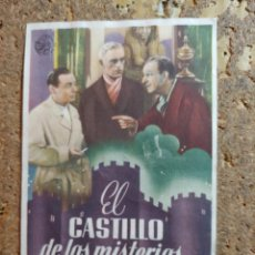 Cine: FOLLETO DE MANO DE LA PELICULA EL CASTILLO DE LOS MISTERIOS CON PUBLICIDAD. Lote 293364343