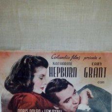 Cine: ~~~~ FOLLETO DE MANO DOBLE, VIVIR PARA GOZAR, HEPBURN - GRANT ~~~~. Lote 293419328