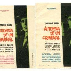 Cine: AUTOPSIA DE UN CRIMINAL, CON FRANCISCO RABAL.. Lote 293426813
