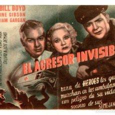 Cine: EL AGRESOR INVISIBLE, CON BILL BOYD.. Lote 293440288