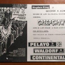 Cine: CREEPSHOW 2 FOLLETO DE MANO ORIGINAL CON CINE IMPRESO PERFECTO ESTADO. Lote 293764028