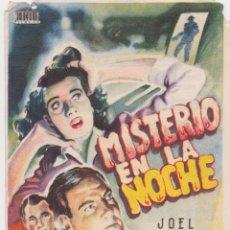 Cine: PROGRAMA DE CINE – MISTERIO EN LA NOCHE – JOEL MC CREA – CINES NOVEDADES Y VILADECANS – 1947. Lote 293829433