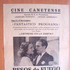 Cine: PROGRAMA LOCAL DE CANET AÑOS 30 - 40 - CINE CANETENSE - PELÍCULA BESOS DE FUEGO CON TINO ROSSI. Lote 293904033