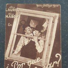 Cine: ¿PORQUE TRABAJAR? - PROGRAMA DE CINE - STAN LAUREL Y OLIVER HARDY - METRO GOLDWYN MAYER.. Lote 294497803