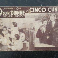 Cine: CINCO CUNITAS - QUINS DIONNE - TEATRE CINEMA CLAVÉ, MATARO - METRO - 1936.. Lote 294499113