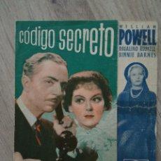 Cine: CÓDIGO SECRETO, WILLIAM POWELL. Lote 294557418