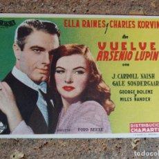 Cine: FOLLETO DE MANO DE LA PELICULA VUELVE ARSENIO LUPIN. Lote 294815303