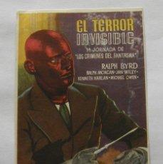 Cine: PROGRAMA DE CINE EL TERROR INVISIBLE. Lote 294825888