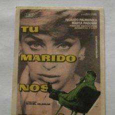 Cine: PROGRAMA DE CINE TU MARIDO NOS ENGAÑA, SIN PUBLICIDAD. Lote 294826423