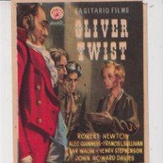 Cine: FOLLETO DE MANO DE OLIVER TWIST CON LANA TURNER PUBLICIDAD CINEMA VALLS EN 1951. Lote 295274343