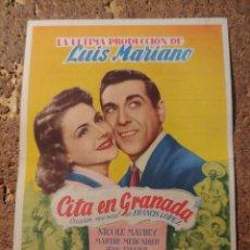 Cine: FOLLETO DE MANO DE LA PELICULA CITA EN GRANADA CON PUBLICIDAD. Lote 295333773
