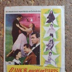 Cine: FOLLETO DE MANO DE LA PELICULA EL AMOR NACIO EN PARIS CON PUBLICIDAD. Lote 295336573