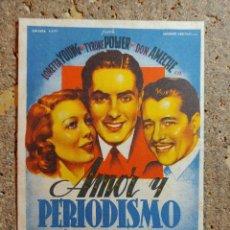 Cine: FOLLETO DE MANO DE LA PELICULA AMOR Y PERIODISMO CON PUBLICIDAD. Lote 295336773