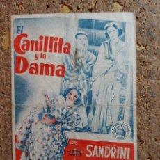 Cine: FOLLETO DE MANO DE LA PELICULA LA CANILLITA Y LA DAMA CON PUBLICIDAD. Lote 295337223