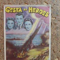 Cine: FOLLETO DE MANO DE LA PELICULA CESTA DE HEROES CON PUBLICIDAD. Lote 295337818