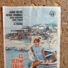 Cine: FOLLETO DE MANO DE LA PELICULA EL ULTIMO VERANO CON PUBLICIDAD. Lote 295338008