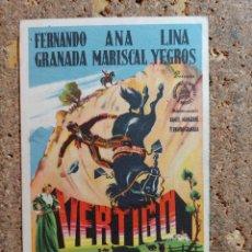 Cine: FOLLETO DE MANO DE LA PELICULA VERTIGO CON PUBLICIDAD. Lote 295339598