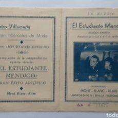 Cine: EL ESTUDIANTE MENDIGO MONT BLANC FILMS AÑOS 30. Lote 295357708