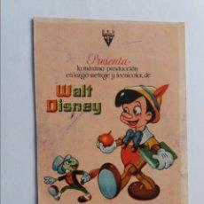 Cine: FOLLETO DE MANO - PINOCHO WALT DISNEY - CINE VALENCIA - SEGORBE 1946. Lote 295580893