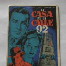 Cine: PROGRAMA DE CINE LA CASA DE LA CALLE 92. Lote 295583193